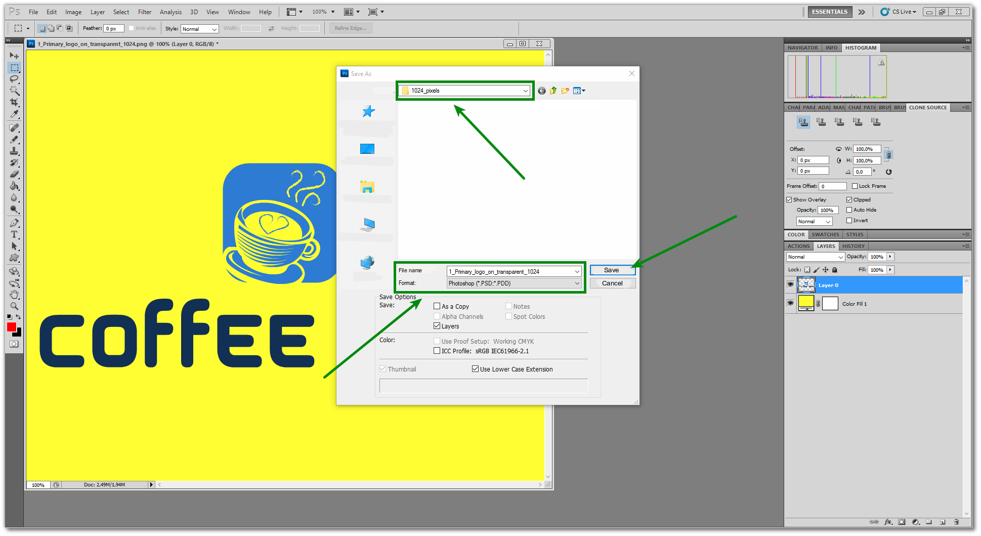 how to save photoshop layer into one pdf file