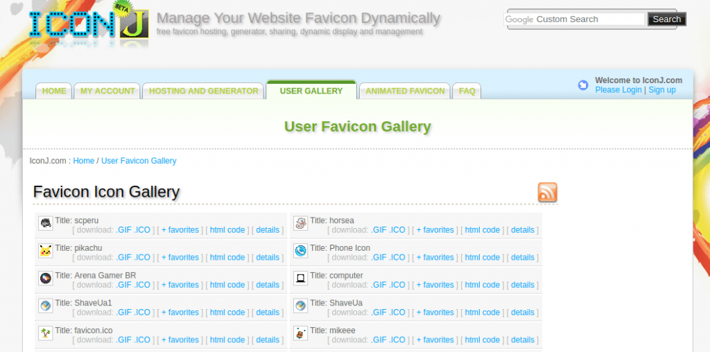 favicon gallery screen