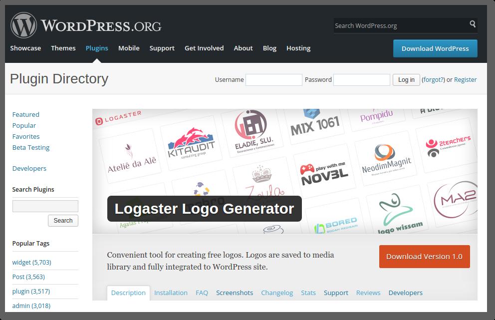 Logaster Logo Generator plugin