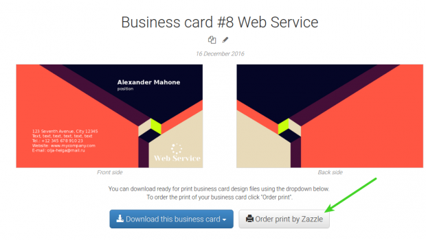 Contents 1. About Zazzle 2. How to print a business card with Zazzle 3. Payment and delivery The Logaster website offers a new option which enables you to print your...