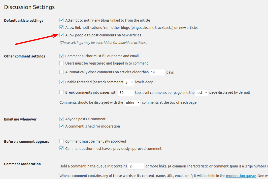 Discussion settings wordpress