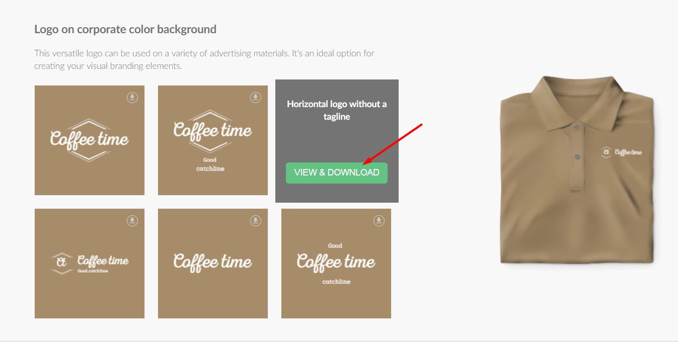 "Click ""Download"" on the desired logo"