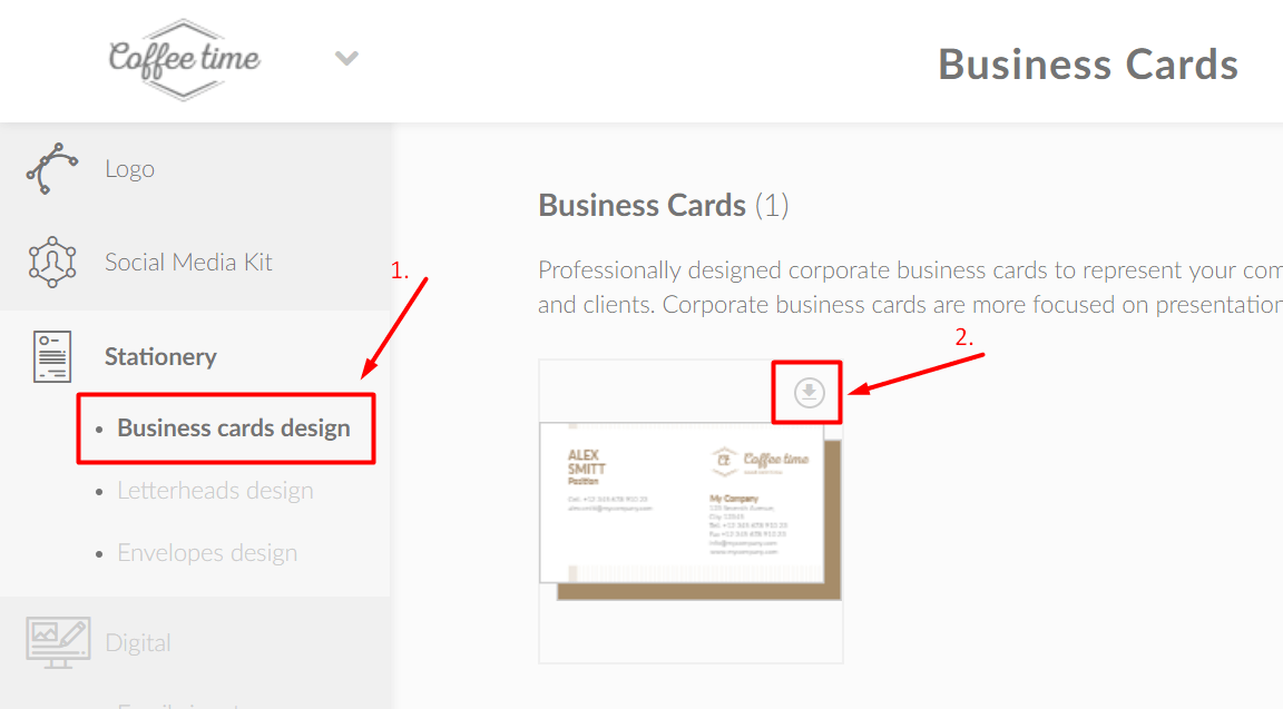 "Download business cards by clicking a ""Business documentation"""