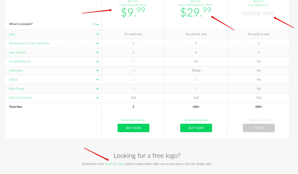 pricing page Logaster