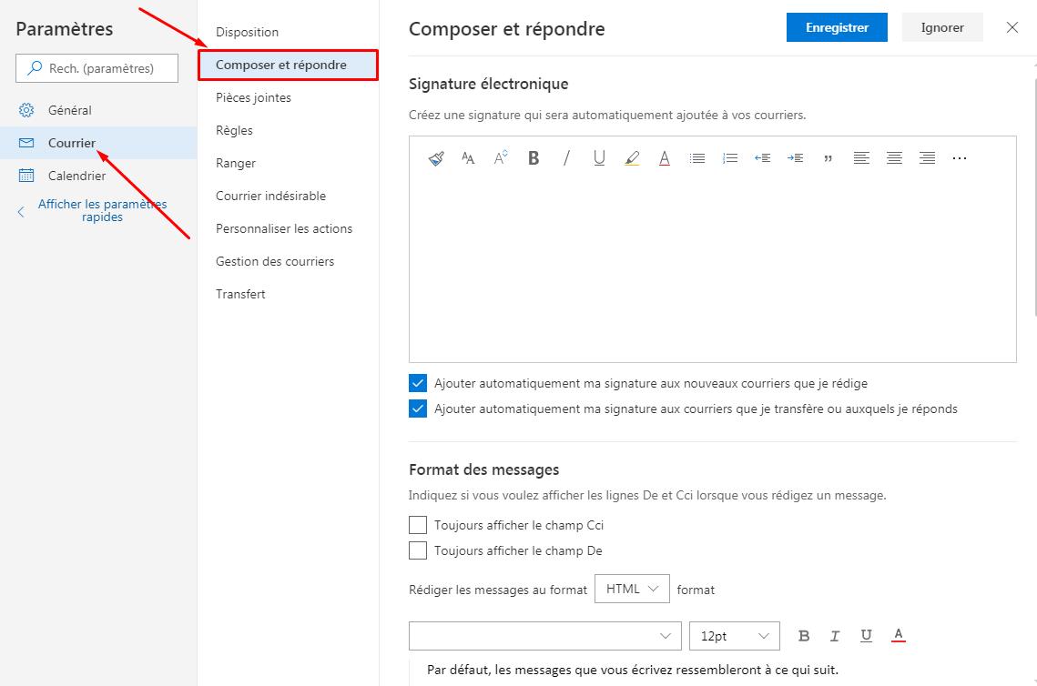 Outlook Composer Courrier
