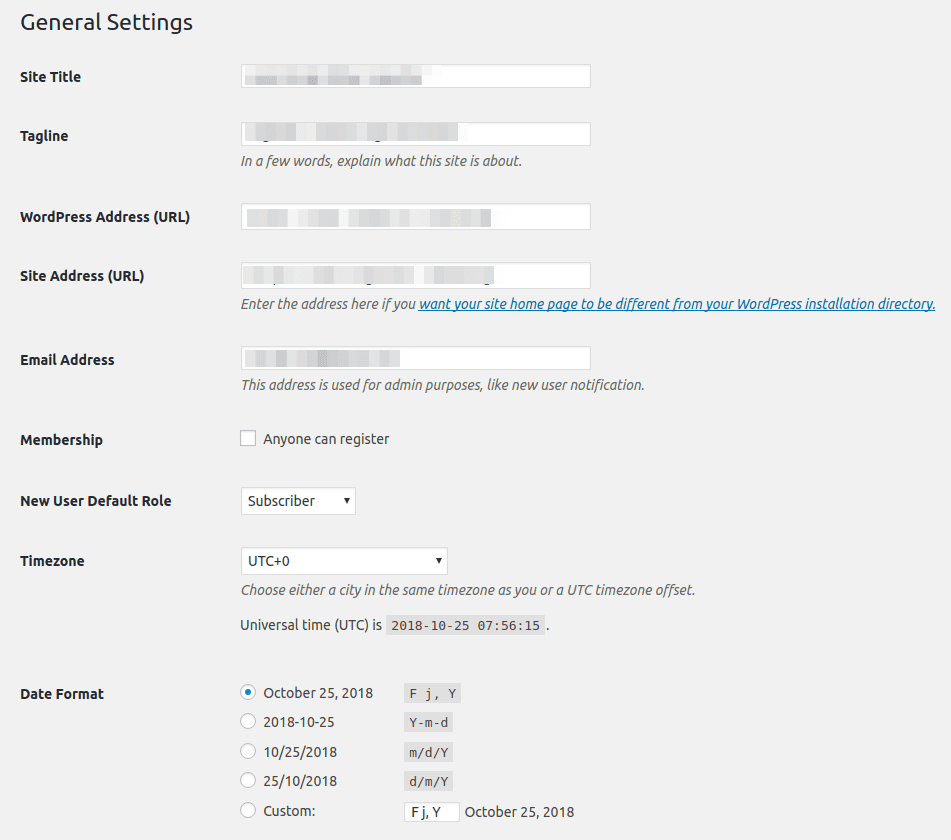 Paramètres Généraux WordPress