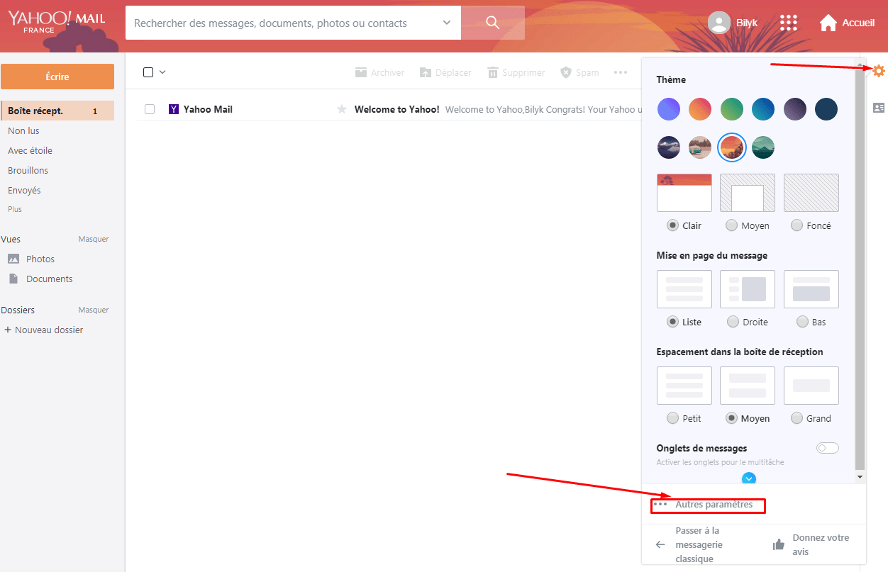 Paramètres Yahoo