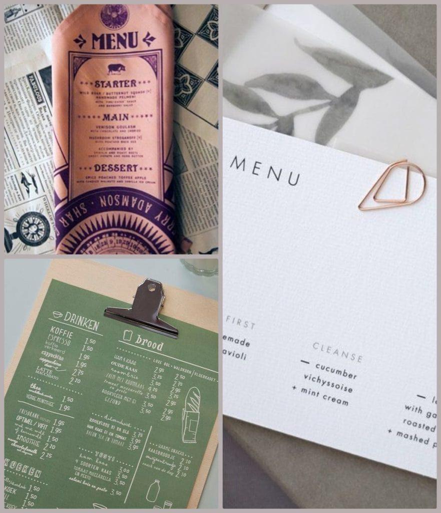 menu examples